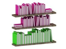 Many intelligent books on wooden shelves Stock Photography