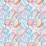 Many International travel visa rubber stamps imprints, seamless pattern. Many International travel visa rubber stamps imprints on white, seamless pattern Royalty Free Stock Image