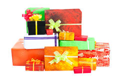 Many isolated christmas present on white Stock Photography