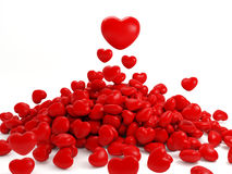 Many isolated red hearts. 3d Render Of Many Isolated Red Heart Stock Images