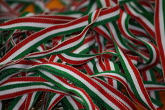 Italian flag use tape to secure the medals of athletes Stock Photo