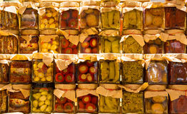 Many jars with preserved italian food Royalty Free Stock Photography