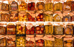 Many jars with preserved italian food Royalty Free Stock Image