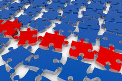 Many jigsaw puzzle pieces. In 3D on the ground Royalty Free Stock Photos