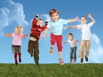 Many jumping children on grass, collage Stock Images