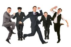 Many jumping men on the white royalty free stock image