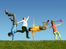 Free Many Jumping People On The Grass, Collage Stock Photos - 12262763