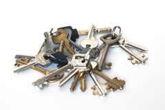 Many keys. Isolated on white Stock Photography