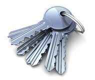 Many keys. (done in 3d, white background vector illustration