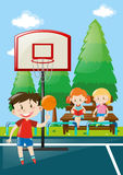 Many kids at basketball court Stock Photos