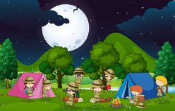 Many kids camping out in the woods at night. Illustration Royalty Free Stock Photo