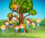 Many kids climbing up ladder in park. Illustration Royalty Free Stock Photography