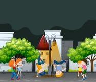 Many kids dancing in the neighborhood park. Illustration stock illustration