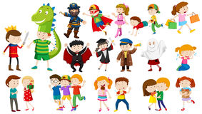 Many kids in different costumes. Illustration Royalty Free Stock Images
