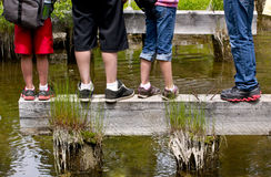 Many Kids Feet. A line of kids legs and feet on wood in a river stock photography