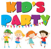 Many kids having fun at party. Illustration Stock Images