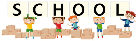 Many kids holding sign say school. Illustration Stock Image