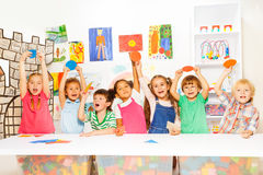 Many kids in the kindergarten class Royalty Free Stock Photo