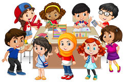 Many kids learning math in classroom vector illustration
