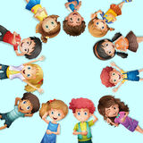 Many kids lying on the ground in circle. Illustration Stock Image
