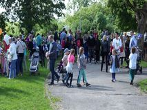 People at a event. Many kids and parents during a event at a kindergarten on circa May 2019 in Poznan, Poland stock video footage