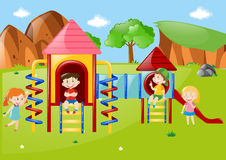 Many kids at playground at daytime. Illustration Royalty Free Stock Photography
