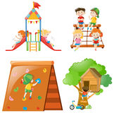 Many kids playing at different play stations. Illustration Stock Photos