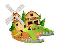 Many kids playing in the farm. Illustration Royalty Free Stock Images