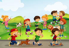 Many kids playing in the field. Illustration Royalty Free Stock Image