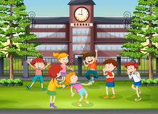 Many kids playing in the school ground. Illustration Royalty Free Stock Image