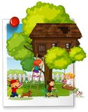 Many kids playing at the treehouse Royalty Free Stock Images