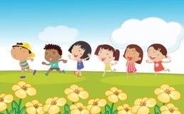 Many kids running around the park stock illustration