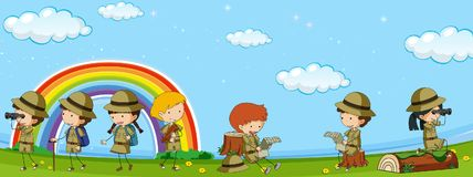 Many kids in scout uniform having fun in park. Illustration Royalty Free Stock Image