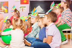 Many kids sit in developmental kindergarten class Royalty Free Stock Image