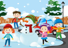Many kids standing in the snow Royalty Free Stock Image