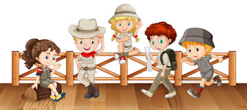 Many kids  on the wooden bridge Royalty Free Stock Photos