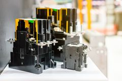 Many kind circuit breaker switch for control electric power for industrial on shelf stock images