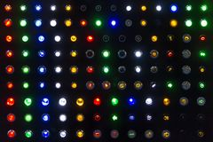 Many kind colorful sample of status lamp or switch for show emblem or signal industrial machine and vehicle royalty free stock photos