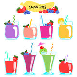 Many kind of healthy and delicious smoothies  Stock Image