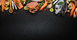 Many kind of seafood, served on crushed ice royalty free stock photo