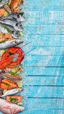 Many kind of seafood, served on crushed ice Royalty Free Stock Photography