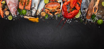 Many kind of seafood, served on crushed ice stock photo