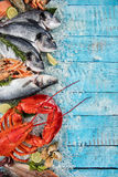 Many kind of seafood, served on crushed ice royalty free stock images