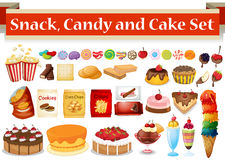 Many kind of snack and candy. Illustration Stock Photo