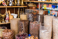 Many Kind of Spices in Spice Market at Souk, Dubai Stock Photos