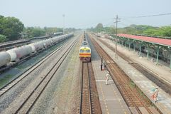 Train arrival at Kaeng Khoi Junction NO.2. Many kind of train to anticipate because it`s junction stock images
