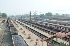 Train arrival at Kaeng Khoi Junction NO.5. Many kind of train to anticipate because it`s junction stock images