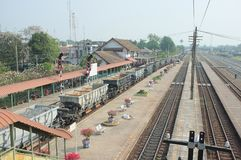 Train arrival at Kaeng Khoi Junction. Many kind of train to anticipate because it`s junction stock images