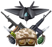 Many kind of weapons and fighting jet. Illustration Stock Images