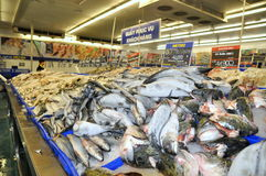 Many kinds of fish are for sale in a modern supermarket in Vietnam Royalty Free Stock Photo